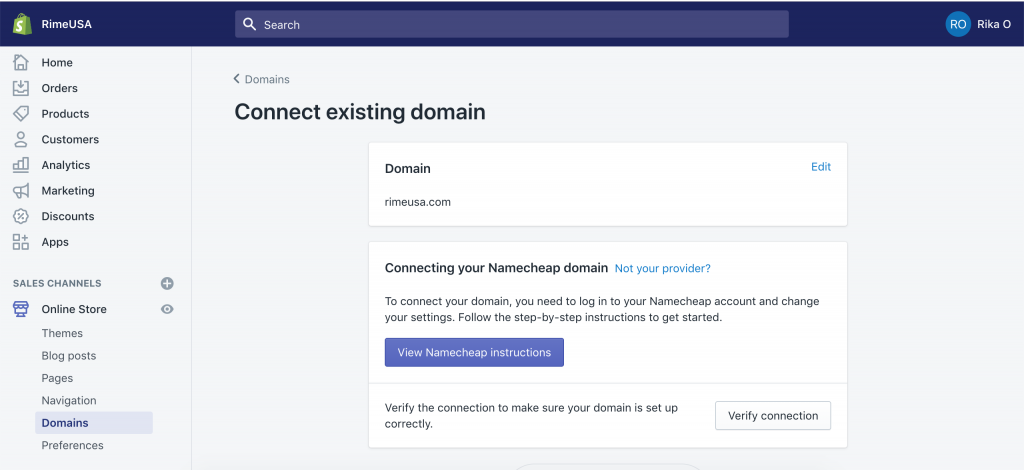 How to add a domain from a third party survivor from Shopify